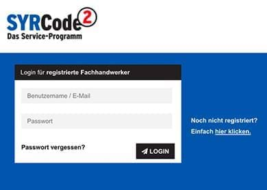Screenshot from the webpage syrcode2.syr.de