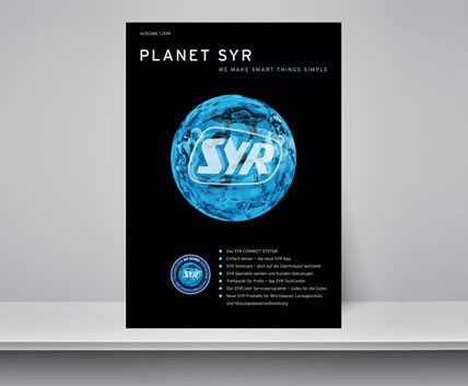 "Flyer ""Planet SYR"" in a shelf"