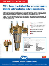 Flange-type BA backflow preventer ensures drinking water protection in large installations.