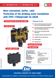 FillingCombi CA 6828: Protection of the drinking water installation.