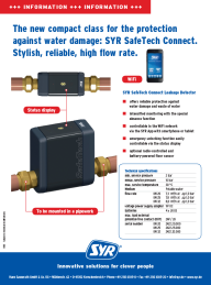 SafeTech Connect: The new compact class for the protection against water damage